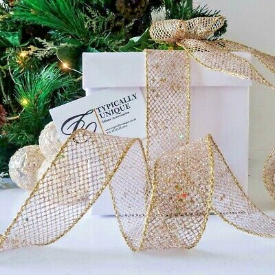 Reduced New Gold Glitter Mesh Christmas Ribbon Wire Edged Gift Wrap ' Bright '