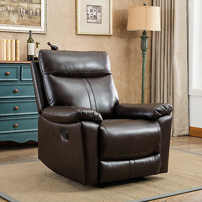 Leather Recliner Chair Living Room Padded Durable Ergonomic Single Seat Brown