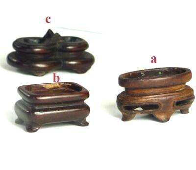 N997 Three Very Antique Chinese Carved Hardwood Stands Snuff Bottle Ornament