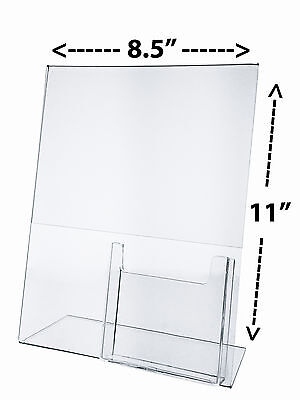 """8.5""""W x 11""""H Table Sign Holder with Pamphlet Pocket Slant Back Acrylic Qty 100"""