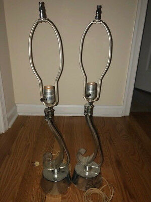 """PAIR 2 Vintage 1950s Mid Centurty Modern Lucite Chrome Lamps 26"""" tall WORKING"""