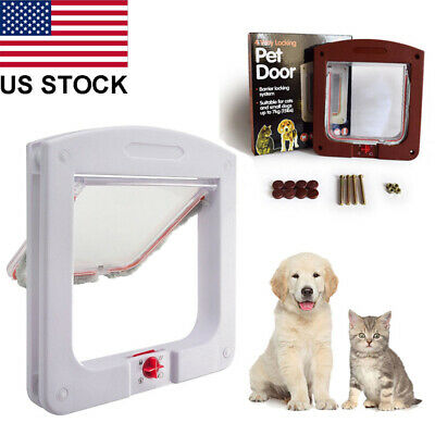 Dogs Cats Flap Door With 4 Way Lockable for Small Medium Pets Entry & Exit US