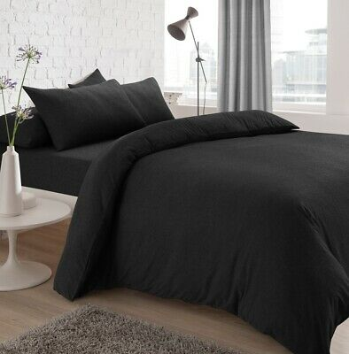Jersey Melange Charcoal Bedding Set | Plain Dye Fitted Sheets Collection