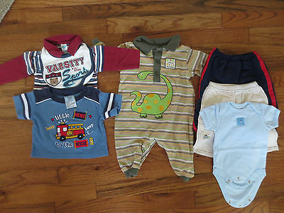 Used 5-Piece Lot of Baby Boys Clothes Size 3-6 Months Fire Engine Dinosaurs