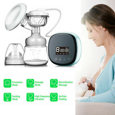 LCD Electric Breast Pump Rechargeable Nursing Breastfeeding Pump + Massage Mode