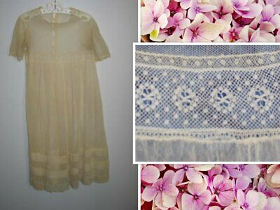 Antique 1900's SILK~Baby Dress~Christening Baptismal Gown-Embroidered-Bobbin Lac