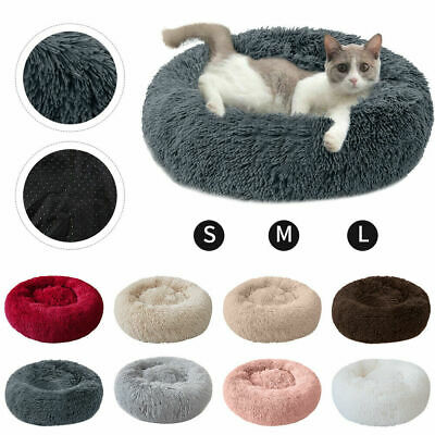 Pet Dog Cat Calming Bed Warm Soft Plush Round Nest Comfortable Sleeping Cushion
