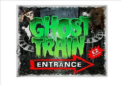 Ghost Train Vintage Style Metal Sign Kitchen Sign Vintage Fairground Sign