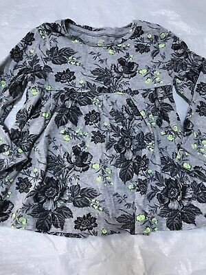 Baby Gap size 4t long sleeve baby doll tee grey with black and yellow flowers