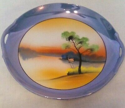 Vintage Chikaramachi Lustreware Japanese Handpainted Serving Plate with Handles
