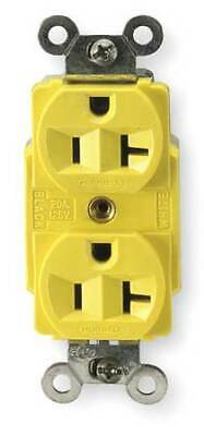 HUBBELL WIRING DEVICE-KELLEMS HBL53CM62 20A Duplex Receptacle 125VAC 5-20R YL