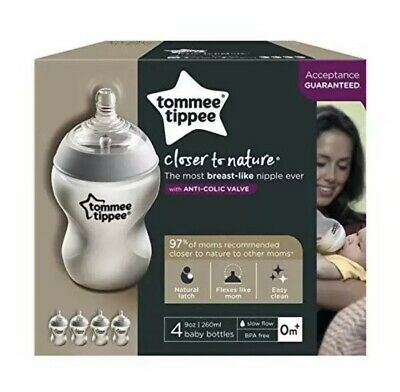 Tommee Tippee Closer to Nature Baby Bottles, 9oz, 4 Pack- New