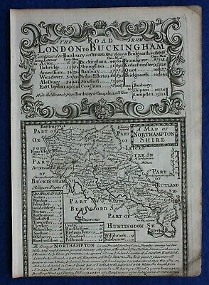 Original antique map from 'Britannia Depicta' , NORTHAMPTONSHIRE, Bowen, c.1724