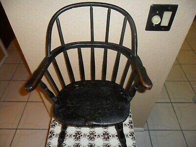 Antique Primitive Wood Child's Windsor Spindle Chair Or Doll Chair Display