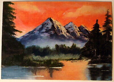 Summer Sunset on Mountain Lake ACEO Original Landscape PAINTING by Leslie Popp