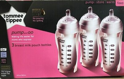 Tommee Tippee Pump and Go Breast Milk Pouch Bottle 6oz 3pk, Extra Slow Flow