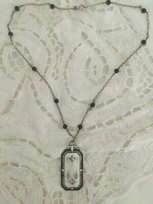 ANTIQUE ART DECO STERLING SILVER GUILLOCHE ENAMEL Roses Beaded NECKLACE