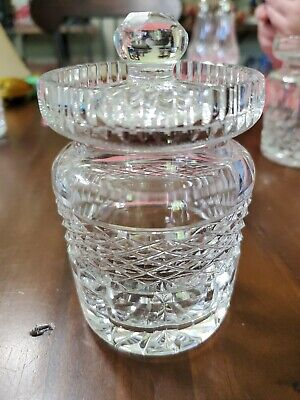 "STAMPED WATERFORD CRYSTAL CASTLEMAINE 4"" TALL JAM CONDIMENT JAR with LID"