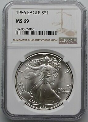 1986 Silver American Eagle 1oz Silver Coin $1 NGC MS 69 Freshly Graded!!!