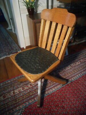 VTG Old solid oak &leather seat antique bankers lawyers office desk swivel chair