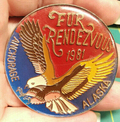 1981 Anchorage Alaska Fur Rondy Rendezvous Collectors Large Pin - Eagle colorful