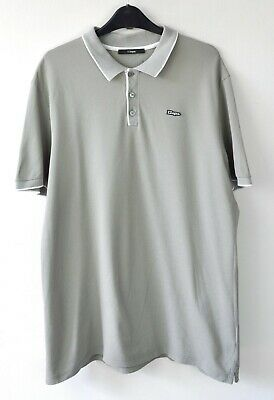 ERMENEGILDO Z ZEGNA Mens 2XL Beige Grey 100% Cotton Polo Shirt Short Sleeved Top