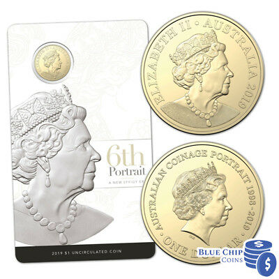 2019 UNC $1 The Sixth Effigy Her Majesty Queen Elizabeth II Coin on Card