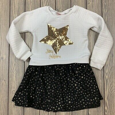 juicy couture youth girls size 5 sweater dress black white gold stars sequence