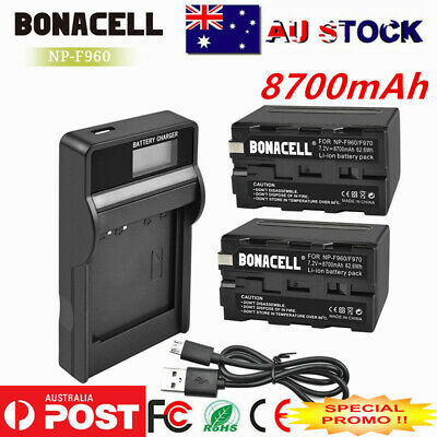 8700mAh NP-F960 NPF960 Battery Or Charger for Sony F970 NP-F950 NP-F770 NP-F750