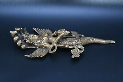 Old Antique nagkanya rare handmade brass buddhist ethnic carved wall hanging