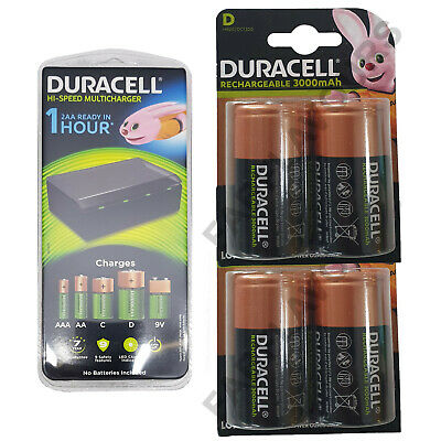 Duracell CEF22 Universal Multi Charger+ 4 x D Size Rechargeable Batteries LR20