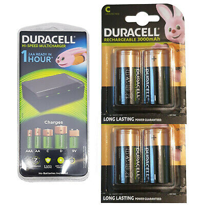 Duracell CEF22 Universal Multi Charger+ 4 x C Size Rechargeable Batteries LR14