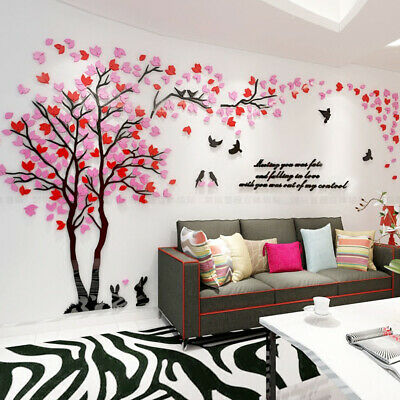 3D Tree Bird Pattern Wall Sticker Decal Removable acrylic Wall Sticker Home Deco