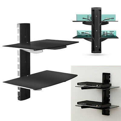 2 Tiers Floating Media DVD Player Bracket Shelves Shelf Glass Black Wall Mounted