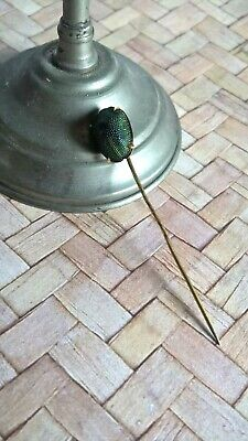 Antique Egyptian Revival Natural Green Scarab Stick Pin