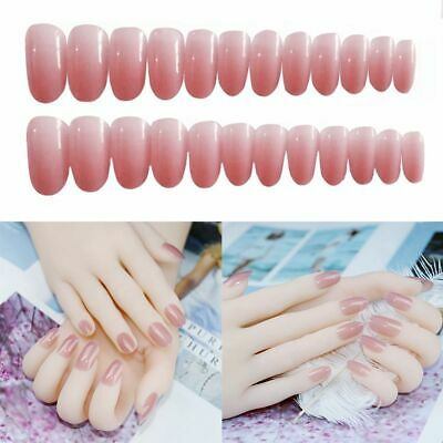 Pink French False Nails Long Classical Full Artificial Press on Nails Tips AU