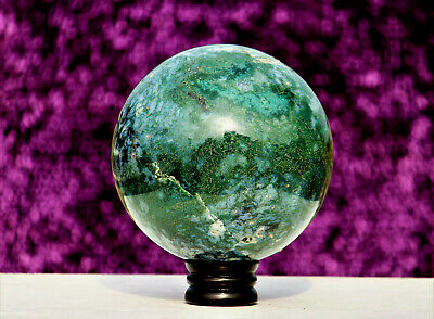 Large 17CM Green Moss Agate Crystal Chakra Healing Energy Reiki Stone Sphere