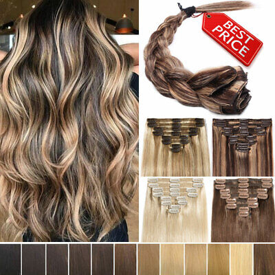 Thick Clip In 100% Real Human Hair Extensions Mix Brown Blonde Black Smooth AU J