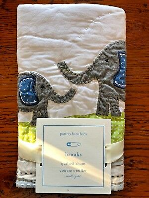Pottery Barn Kids Baby Toddler Brooks Elephant Quilted Pillow Sham 12X16