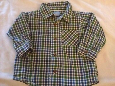 Childrens Place Boys Green Blue Plaid Long Sleeve Collared Shirt 12 Months