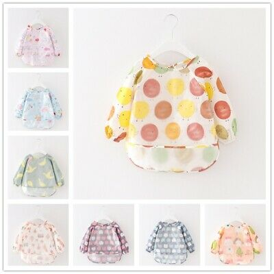 2-4 Years Baby Bibs Feeding Smock Aprons Overclothes Long Sleeve Waterproof