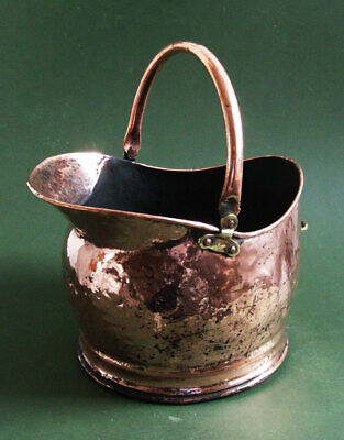 Antique Fireplace Waterloo Copper Coal Hod, Coal Scuttle with Copper Handle