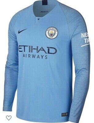 OFFICIAL NIKE Manchester City Home Shirt 2018/19 Blue Size SMALL S Long Sleeves