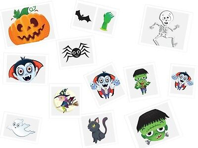 12 x Packs of 12 Halloween Temporary Tattoos Kids Boys Girls Halloween Party Bag