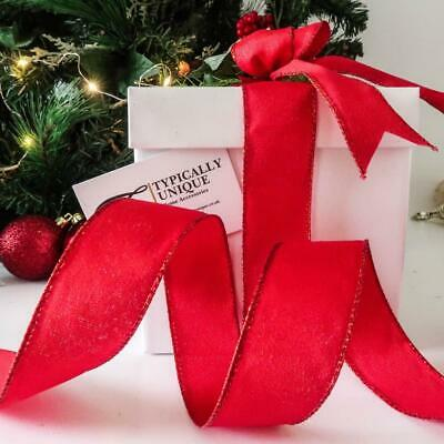 New Red Sparkle Christmas Ribbon Wire Edged Tree Decoration Gift Wrap 'Regal'