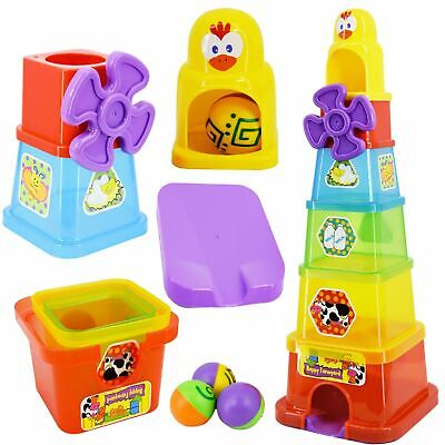 Happy Farmyard Spin & Drop Tower Baby Toddler Stacking Nesting Cups Blocks Toy