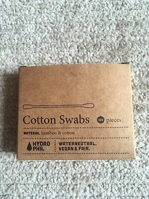 NEW Hydrophil Cotton Swabs Bamboo and Cotton Natural Plastic Free 100 Pack