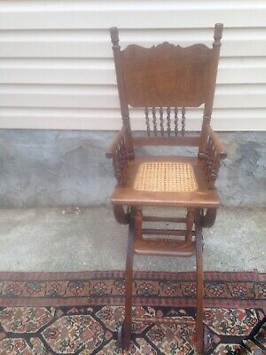 Antique Old Oak High And Walker Chair Rustic, Camp Cabin Furniture