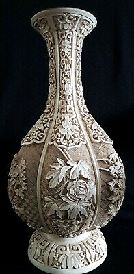VINTAGE LARGE Chinese Intricately Carved White Cinnabar vase SIGNED IVORY DYNAST