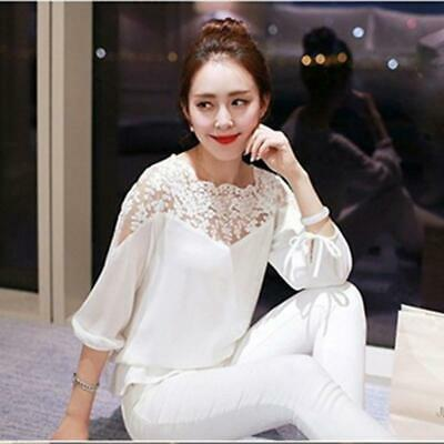 Womens Summer 3/4 Sleeve T-shirt Lace Shirt Casual Solid Tops Blouse W